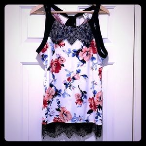 White House Black Market Floral Top with Lace